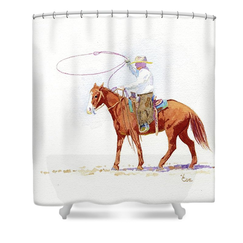 Horse Shower Curtain featuring the painting Honed In by Valerie Coe