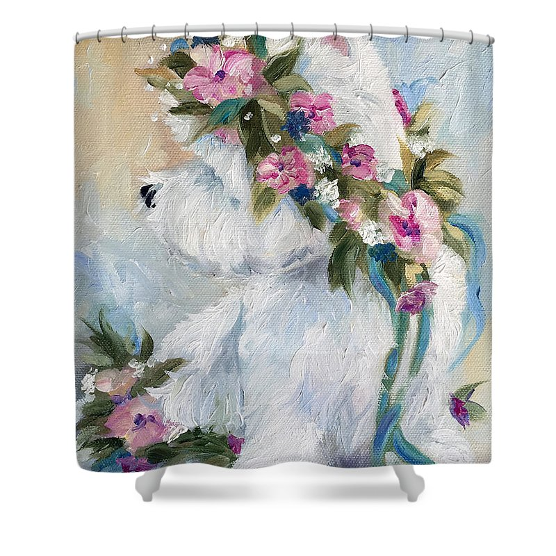 Westie Shower Curtain featuring the painting Honey by Mary Sparrow