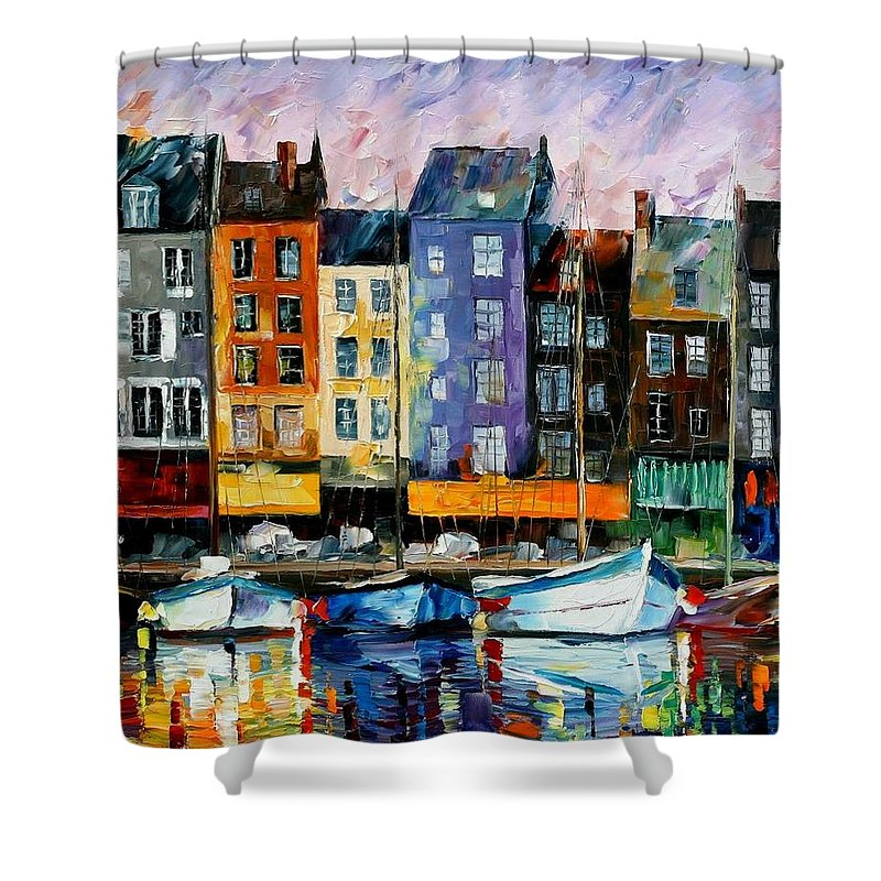 Afremov Shower Curtain featuring the painting Honfleur - Normandie by Leonid Afremov