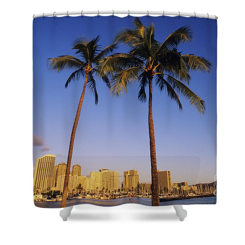 Afternoon Shower Curtain featuring the photograph Honolulu And Palms by Carl Shaneff - Printscapes
