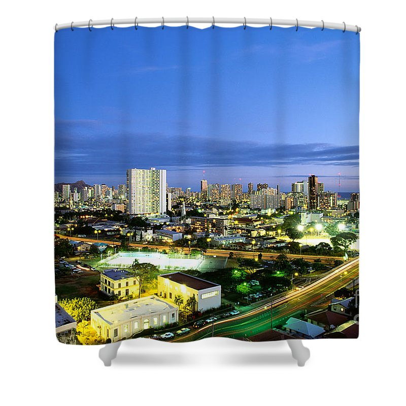 Active Shower Curtain featuring the photograph Honolulu City Lights by Carl Shaneff - Printscapes