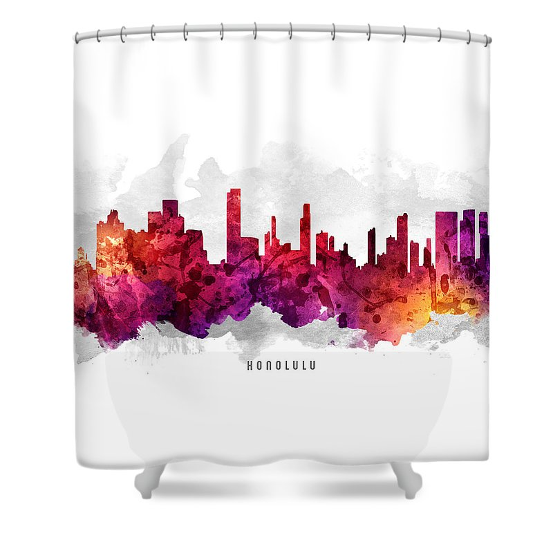 Honolulu Shower Curtain featuring the painting Honolulu Hawaii Cityscape 14 by Aged Pixel