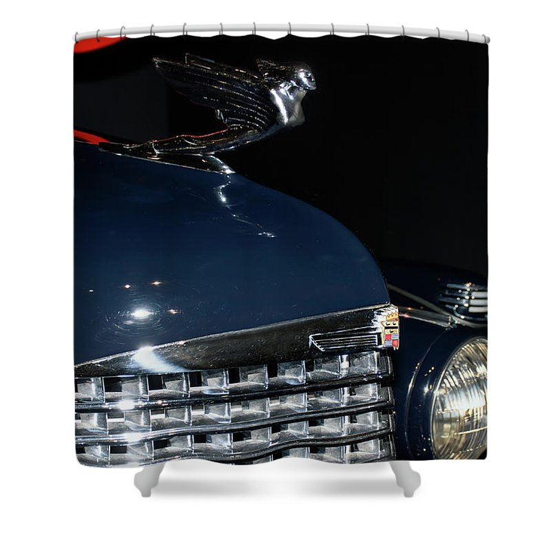 Automotive Photography Shower Curtain featuring the photograph Hood Ornament-1938 Cadillac V-16 Town Sedan by John Bartelt