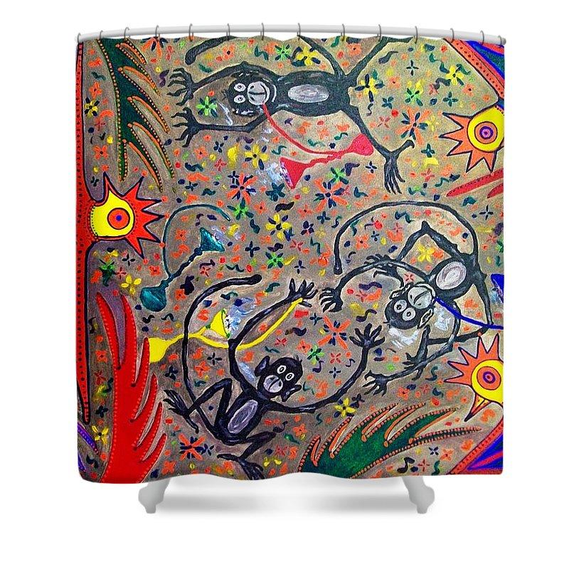 Contemporary Folk Art Shower Curtain featuring the painting Hookah Monkeys - Jinga Monkeys Series by Fareeha Khawaja