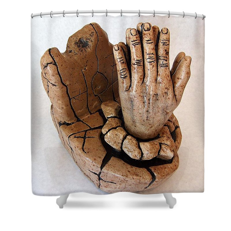 Sculpture Shower Curtain featuring the sculpture Hope by C W Hooper
