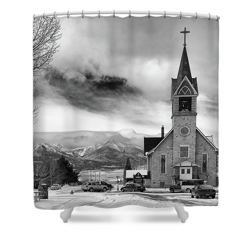 Architecture Shower Curtain featuring the photograph Hope Evangelical Lutheran Church by John Bartelt