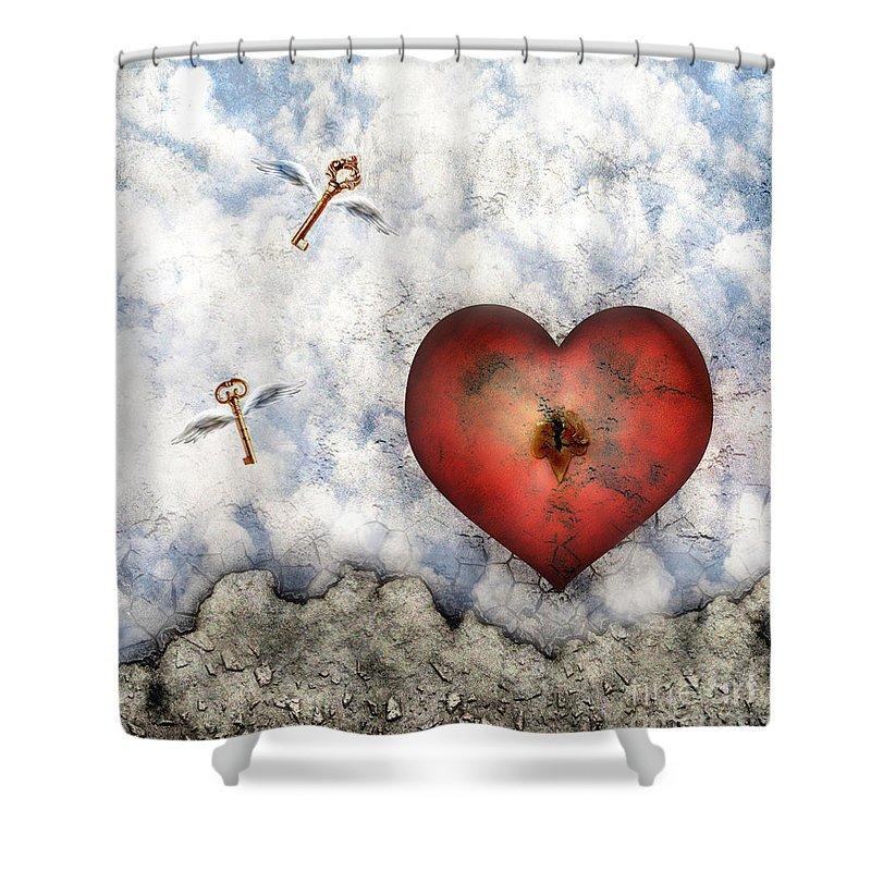 Heart Shower Curtain featuring the digital art Hope Floats by Jacky Gerritsen