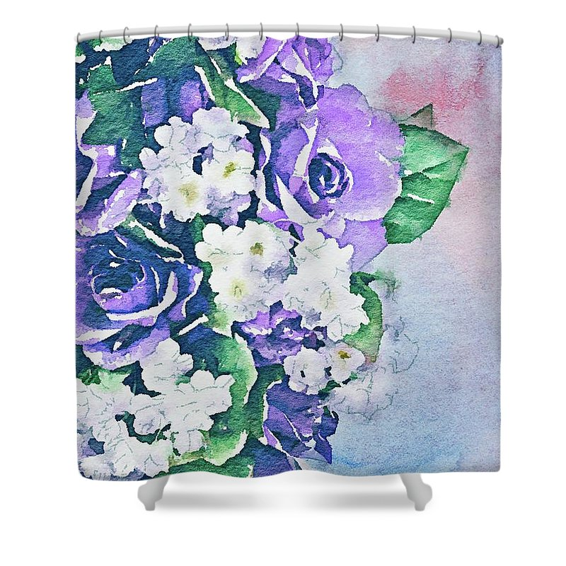 Flowers Shower Curtain featuring the painting Hope Grows by Jamie Holbrook