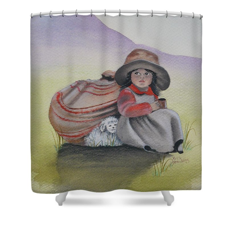 Children Shower Curtain featuring the painting Hope by Kris Crollard