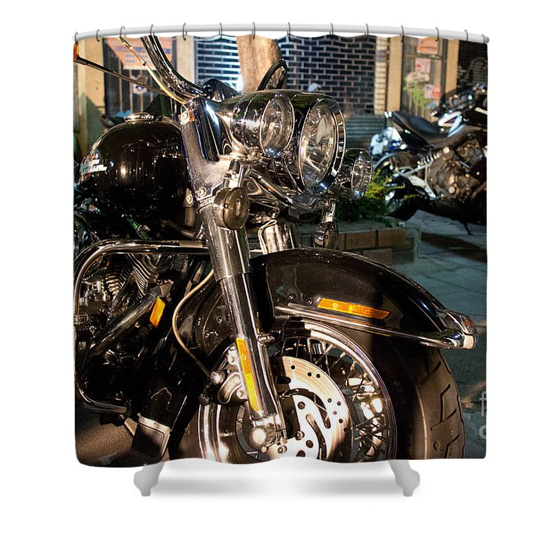 Vintage Shower Curtain featuring the photograph Horizontal Front View Of Fat Cruiser Motorcycle With Chrome Fork by Jason Rosette