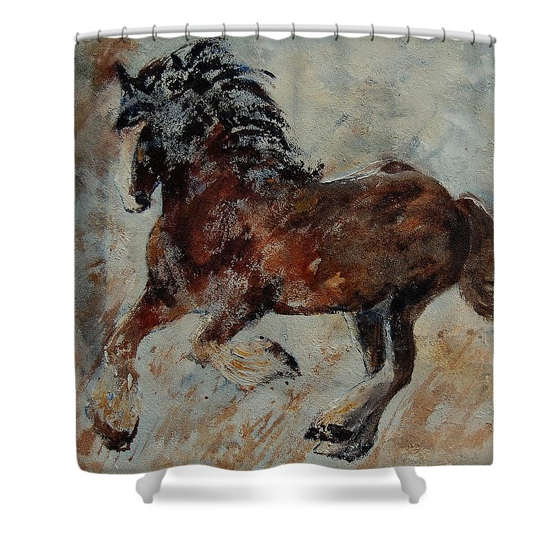 Animal Shower Curtain featuring the painting Horse 561 by Pol Ledent