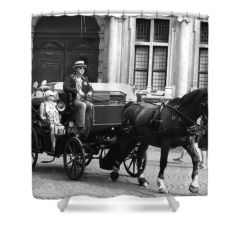 Ian Watts Shower Curtain featuring the photograph Horse And Carriage by Ian Watts