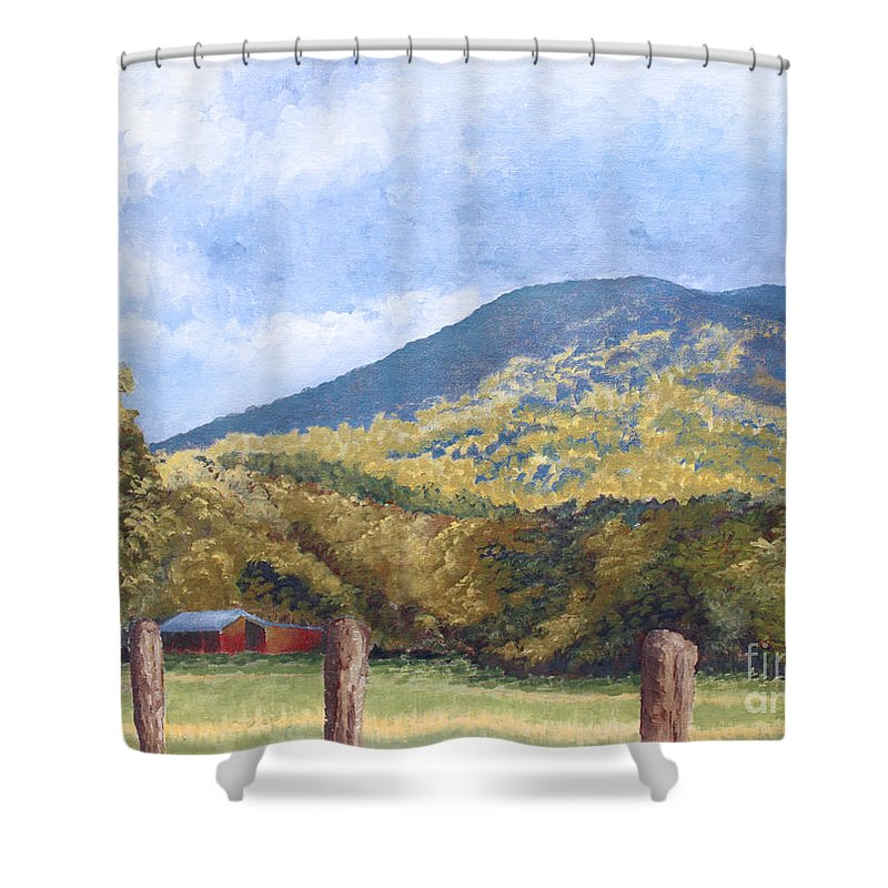 Landscape Shower Curtain featuring the painting Horse Barn At Cades Cove by Todd Blanchard