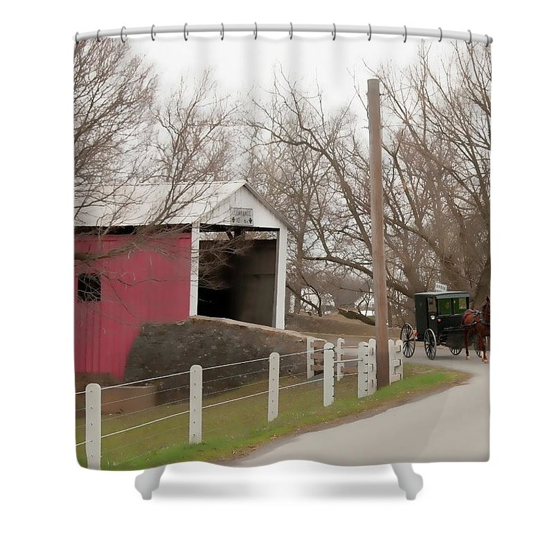 Bridge Shower Curtain featuring the photograph Horse Buggy And Covered Bridge by David Arment