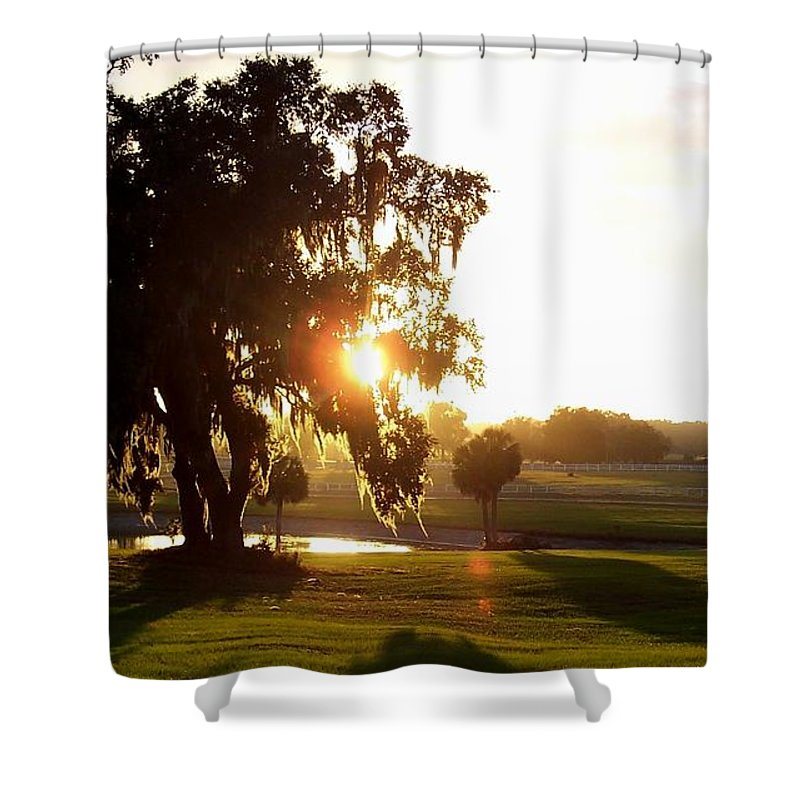 Sunset Shower Curtain featuring the photograph Horse Country Sunset by Kristen Wesch