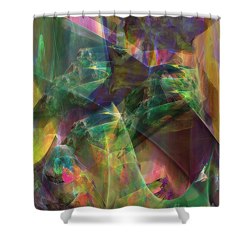 Horse Feathers Shower Curtain featuring the digital art Horse Feathers by John Beck
