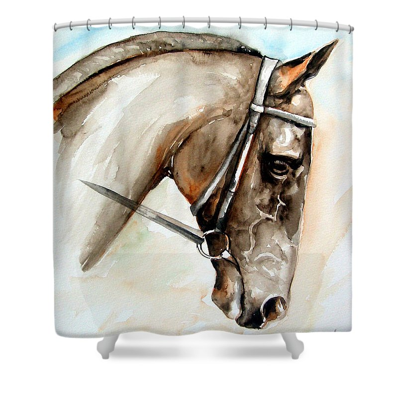 Horse Shower Curtain featuring the painting Horse Head by Leyla Munteanu