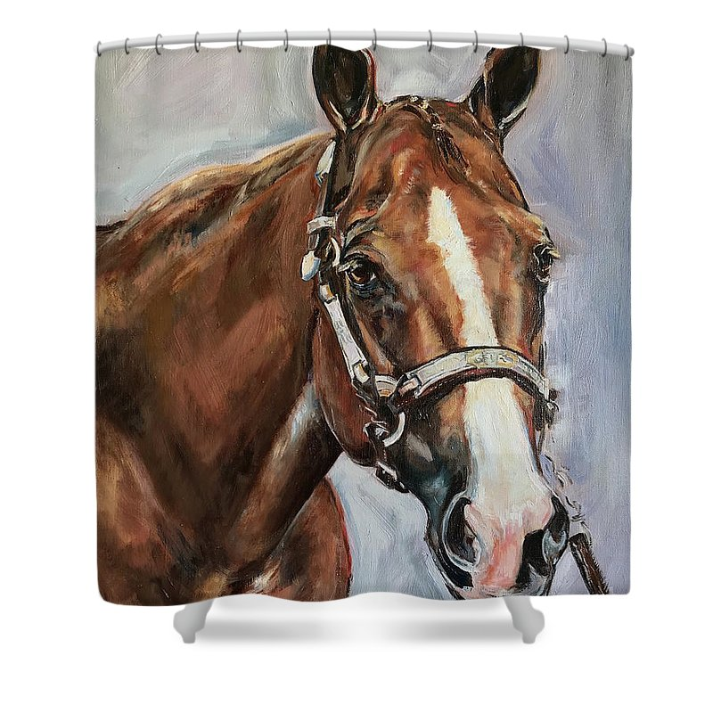 Horse Shower Curtain featuring the painting Horse Head Portrait by Maria Reichert