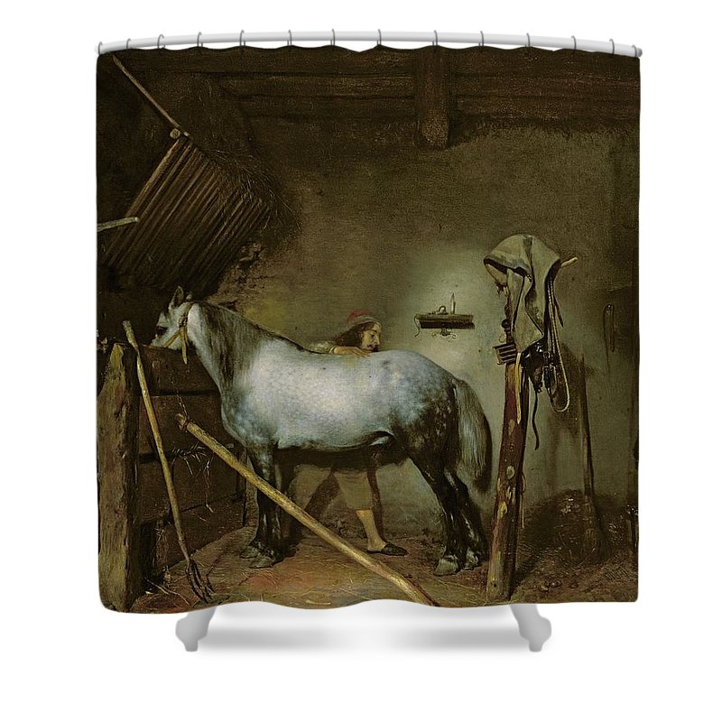 Horse Shower Curtain featuring the painting Horse In A Stable by Gerard Terborch