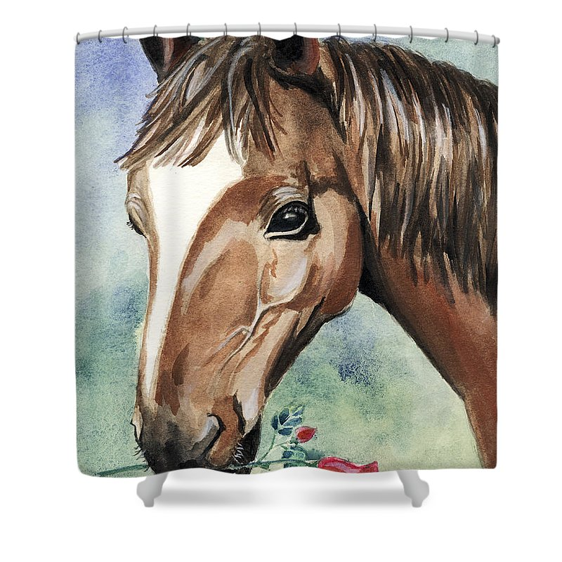 Horse Shower Curtain featuring the painting Horse In Love by Alban Dizdari