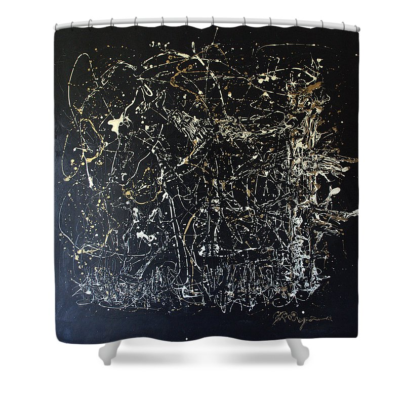 Horse In Pasture Shower Curtain featuring the mixed media Horse In Pasture by J R Seymour