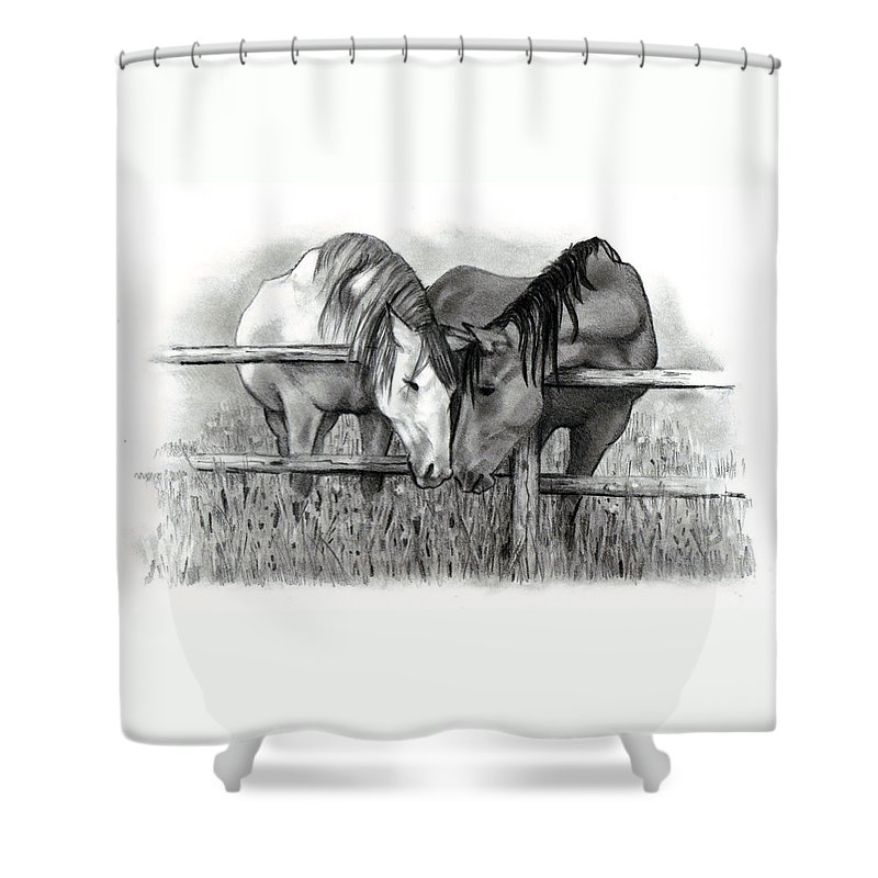 Horses Shower Curtain featuring the drawing Horse Lovers by Joyce Geleynse