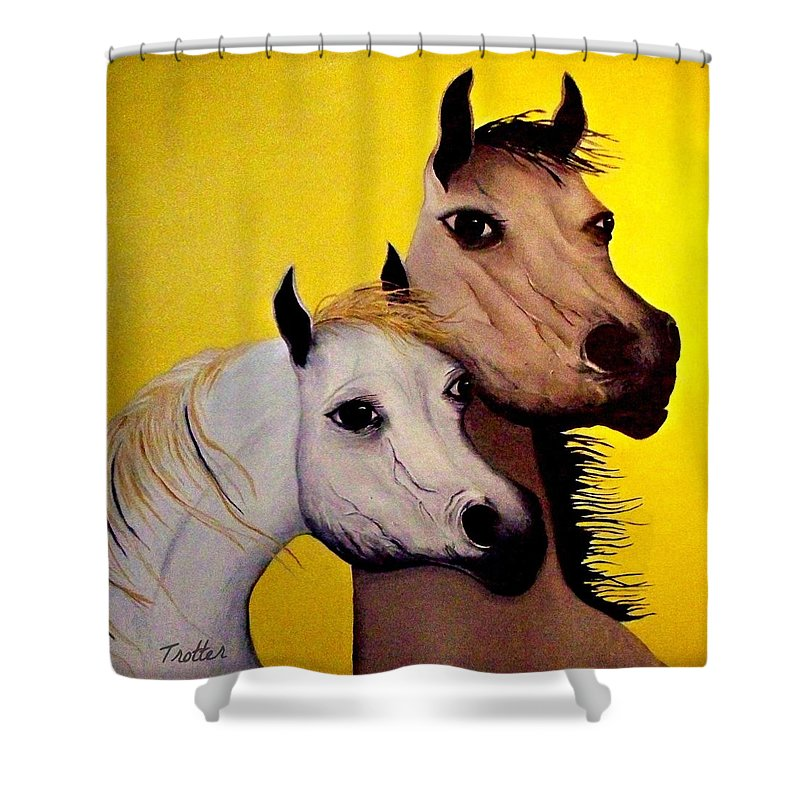 Shower Curtain featuring the painting Horse Lovers the Golden Age by Patrick Trotter