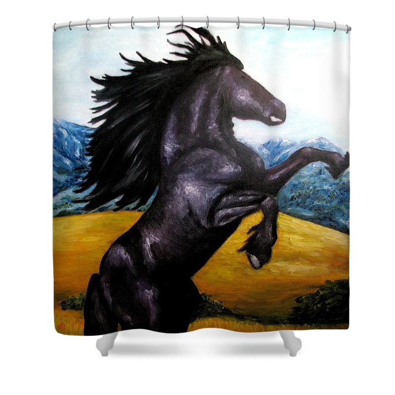 Horse Shower Curtain featuring the painting Horse Oil Painting by Natalja Picugina