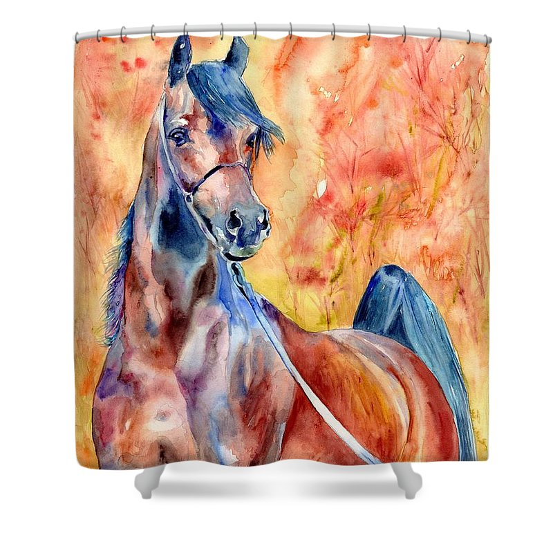 Horse Shower Curtain featuring the painting Horse on the orange Background by Suzann Sines