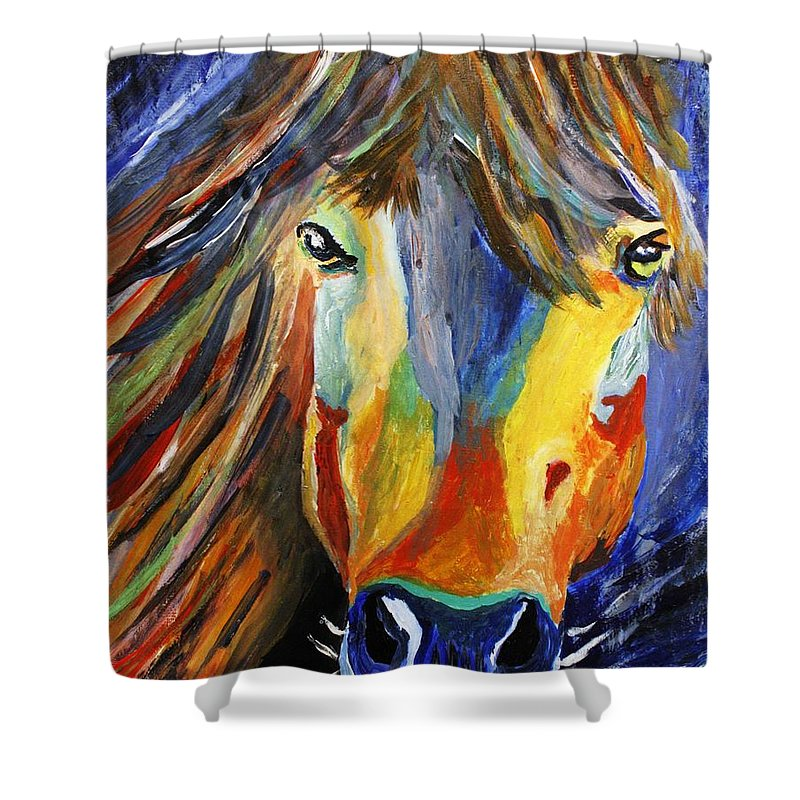 Horse Shower Curtain featuring the painting Horse One by April Harker