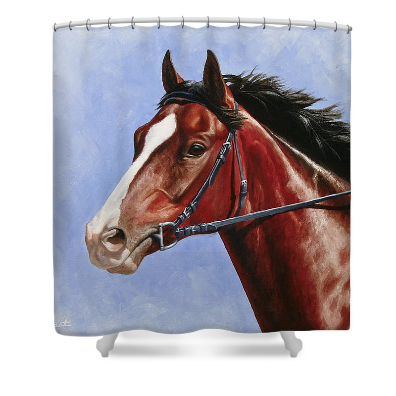 Horse Shower Curtain featuring the painting Horse Painting - Determination by Crista Forest