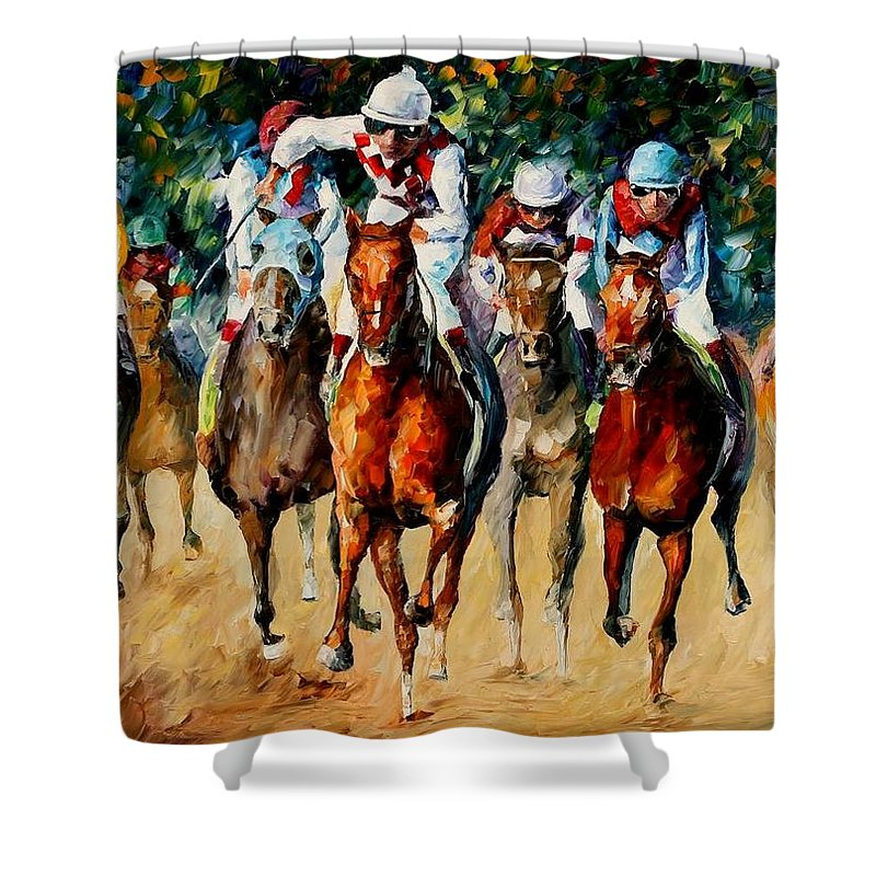 Afremov Shower Curtain featuring the painting Horse Race by Leonid Afremov