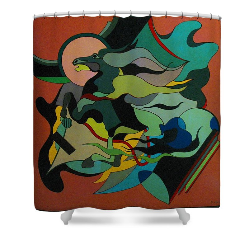 Abstract Shower Curtain featuring the painting Horse by Vasilis Bottas