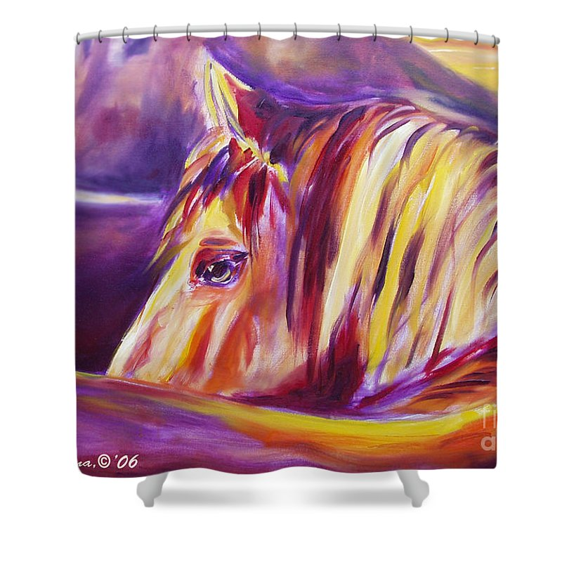 Horses Shower Curtain featuring the painting Horse World Detail by Gina De Gorna