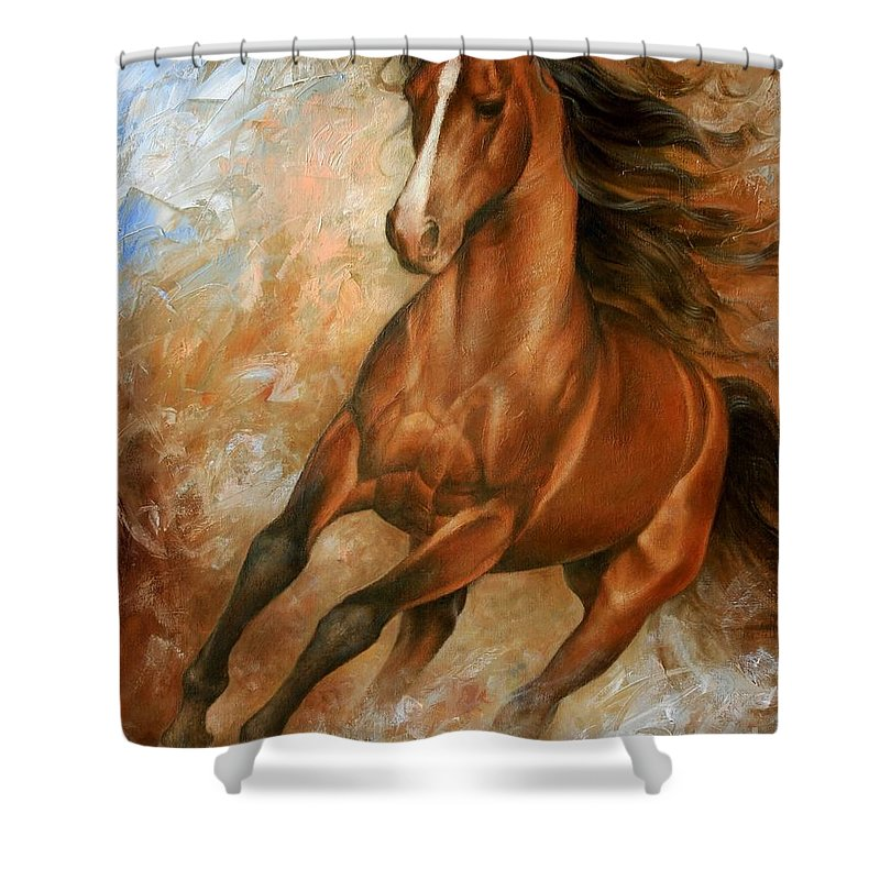 Horse Shower Curtain featuring the painting Horse1 by Arthur Braginsky