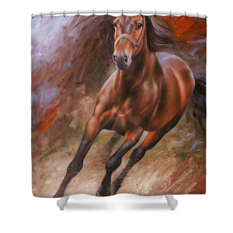 Art Shower Curtain featuring the painting Horse2 by Arthur Braginsky
