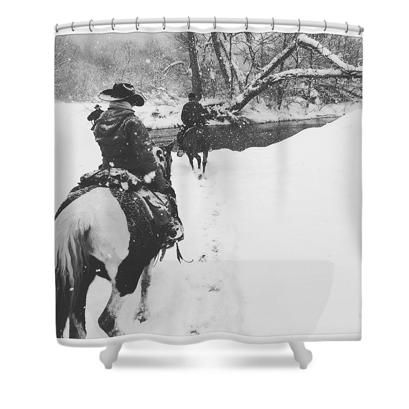 Horses Shower Curtain featuring the photograph Horses by Christina McNee-Geiger