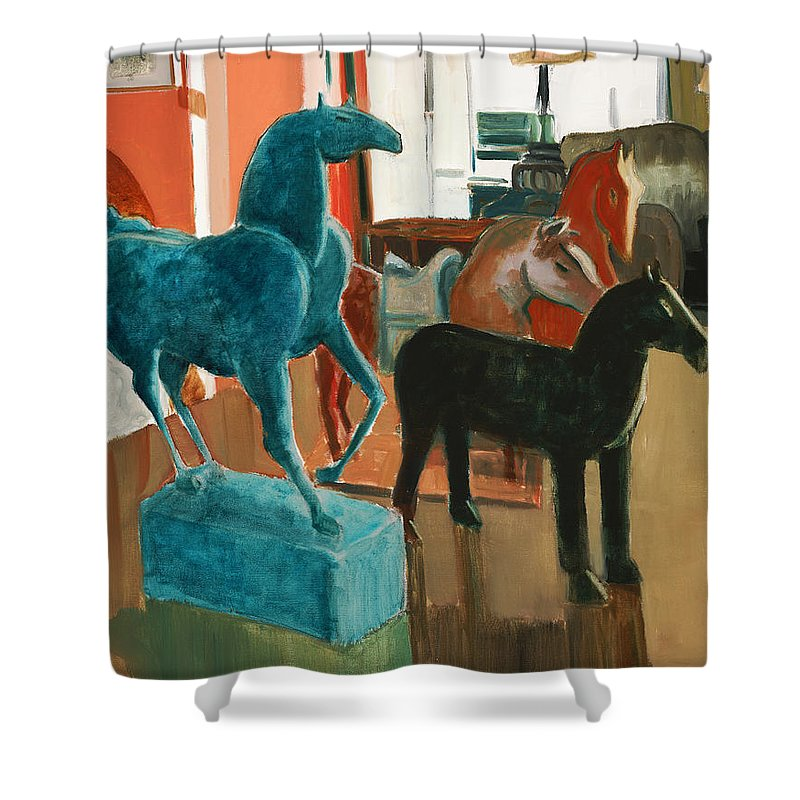 Horse Shower Curtain featuring the painting Horses Four by Thomas Tribby
