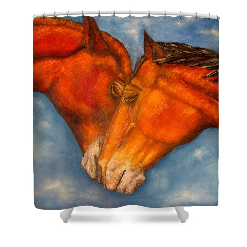 Horses Shower Curtain featuring the painting Horses In Love.oil Painting by Natalja Picugina