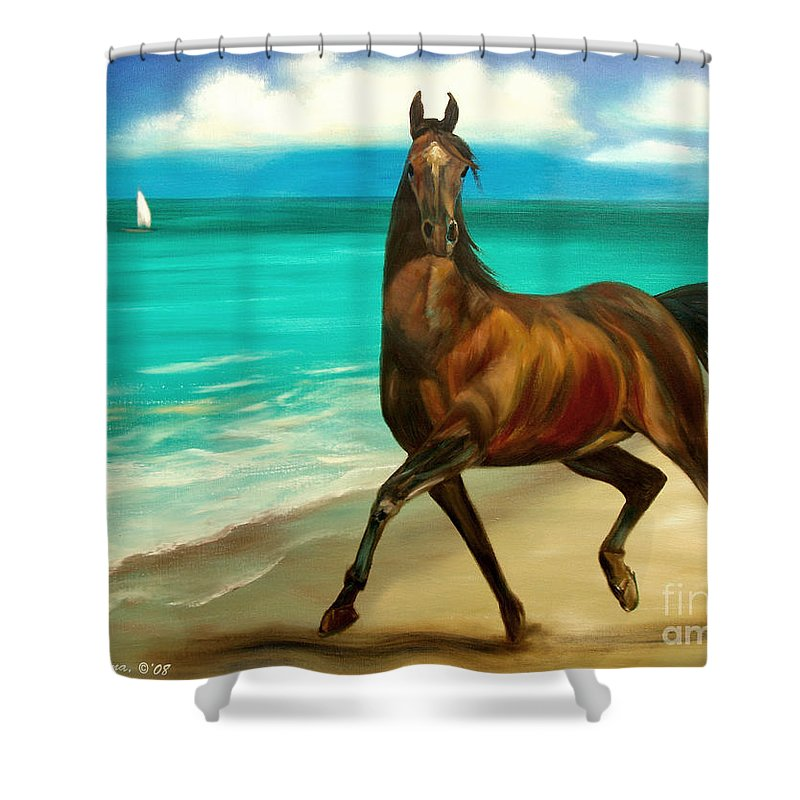 Horse Shower Curtain featuring the painting Horses In Paradise Dance by Gina De Gorna