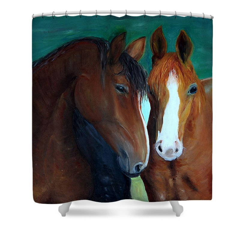 Horses Shower Curtain featuring the painting Horses by Taly Bar