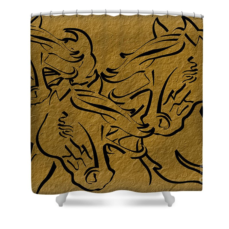 Horse Shower Curtain featuring the digital art Horses Three by Tim Hightower