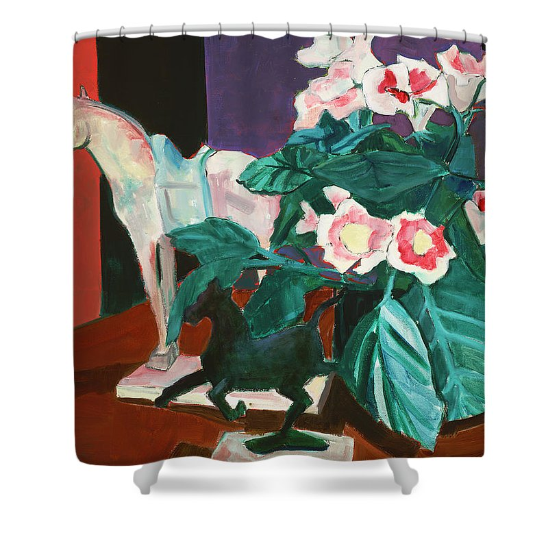 Still Life Shower Curtain featuring the painting Horses With Floral by Thomas Tribby