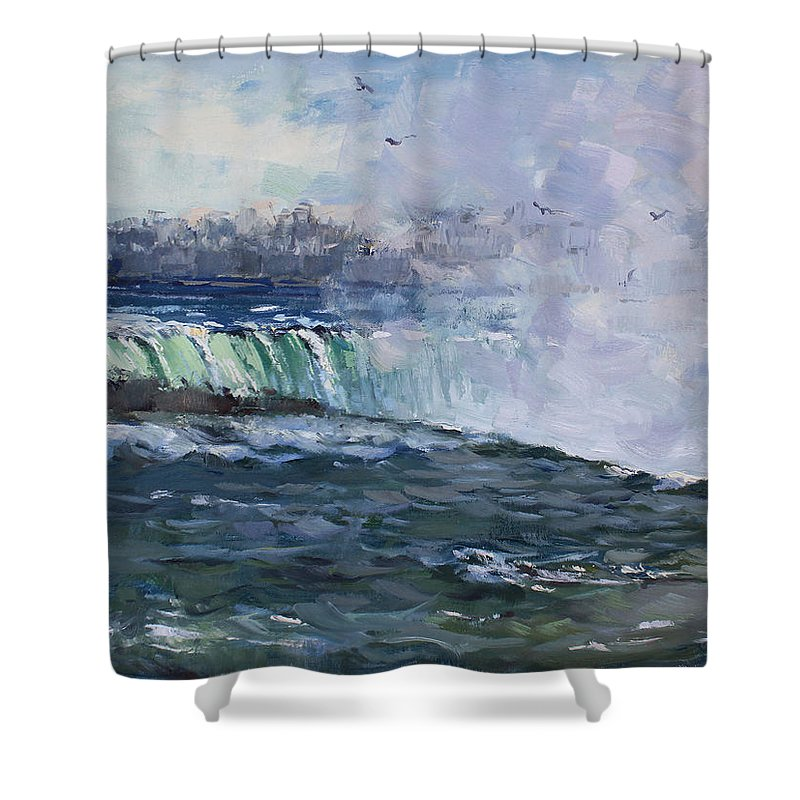 Horseshoe Falls Shower Curtain featuring the painting Horseshoe Falls by Ylli Haruni