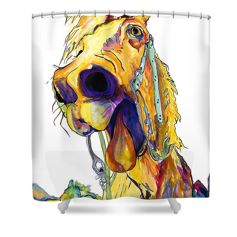 Animal Painting Shower Curtain featuring the painting Horsing Around by Pat Saunders-White