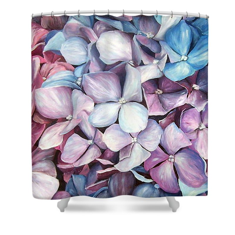 Flowers Nature Blue Violet Macro Shower Curtain featuring the painting Hortensias by Natalia Tejera