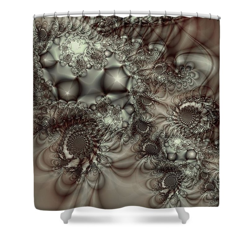 Green Shower Curtain featuring the digital art Hot Chocolate Possibilities by Casey Kotas
