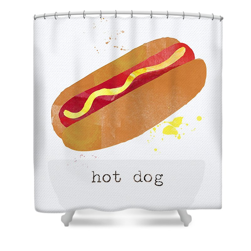 Hot Dog Shower Curtain featuring the painting Hot Dog by Linda Woods