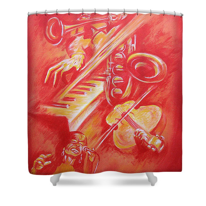 Jazz Music Instruments Singing Acrylic Canvas Shower Curtain featuring the painting Hot Jazz by Shaun McNicholas