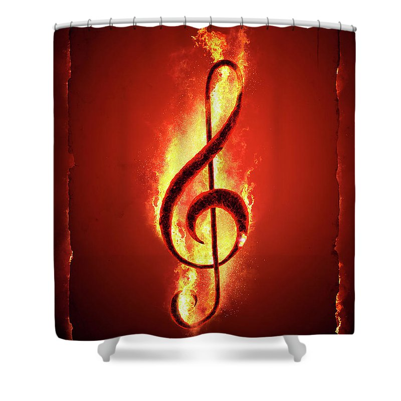 Music Shower Curtain featuring the photograph Hot Music by Johan Swanepoel